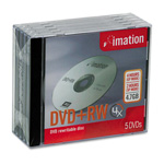 Imation DVD+RW Rewritable Discs with Jewel Cases, 4.7 GB, Silver, 5/Pack