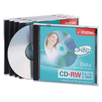 Imation CD RW Rewritable Discs, 700MB/80Min, 12x, Branded Surface, Silver, 5/Pack