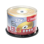 Imation CD Recordable Discs, 52x, 80 min., Spindle, Gold, 50/Pack