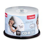 Imation CD Recordable Discs, 52x, 80 min., Spindle, Matte White, 50/Pack