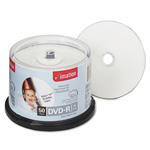 Imation DVD R Recordable Discs on Spindle, Ink Jet Printable, 4.7 GB, White, 50/Pack