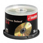 Imation CD Recordable Discs, 52x, 700MB/80Min, Business Select™, Spindle, Gold, 50/Pack