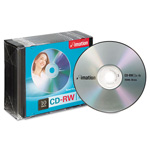 Imation CD RW Rewritable Discs, 700MB/80MIN, 4x, Branded Surface, Silver, 10/Pack