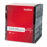 Imation CD/DVD Slim Line Jewel Cases, Clear/Black, 25 per Pack