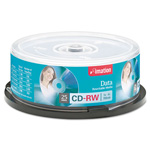 Imation CD RW Rewritable Discs, 700MB/80MIN, 4x, Branded Surface, Silver, 25/Pack