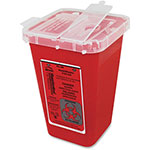 "Impact Sharps Container, 6.75"" x 5"" x 4.5"", 1QT, 100/CT, Red"