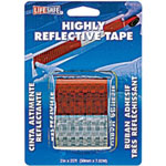 "Incom Reflective Safety Tape, Red/Silver, 2"" x 25' Roll, 6"" Silver, 6"" Red Alternating, DOTC2 Approved"
