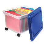 "Innovative Storage Design Rolling File Tote, 10-1/2""x16-1/4""x11"", Clear w/ Blue Lid"
