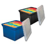 "Innovative Storage Design File Tote, 50 lb. Cap., 14-1/8"" x 18"" x 10-13/6"" BE w/ Clear Lid"
