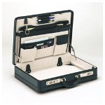Universal Bonded Leather Attaché with Bar Locks, 18 1/8w x 4d x 13 3/8h, Black