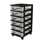 "Iris Mini Chests, 6-Drawer, 12-1/16"" x 14-1/4"" x 26-7/16"", Black"