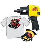 "Ingersoll Rand ThunderGun 1/2"" Drive Impact Wrench Kit with Free T-Shirt and IR ThunderGun Mechanics Gloves"