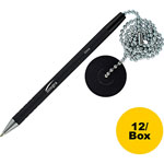 "Integra Counter Pen with 24""L Chain & Base, Antimicrobial, 12/BX, Black"