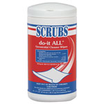 "Scrubs Do-It All Germicidal Cleaner Wipes, Lemon, 7"" X 8"", White, 75/container"