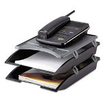 Innovera Black/Gray Telephone Stand With Stackable Letter Size Paper Trays