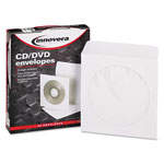 Innovera CD/DVD Envelopes, Clear Window, White, 50/Box