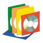Innovera CD/DVD Envelopes, Clear Window, Red, Yellow, Orange, Blue, Green, 50/Pk
