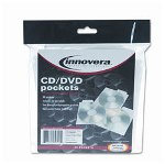 Innovera CD Pockets With Tab, Tuck-In Flap, Clear Polypropylene