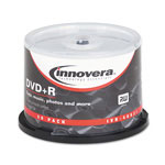 Innovera DVD+R Recordable Discs, 4.7GB, 16x, White, Spindle, 50/Pack