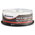 Innovera DVD-R Discs, 4.7GB, 16x, Spindle, White, 25/Pack