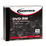 Innovera DVD+RW Rewritable Discs, 4.7GB, 4x, Silver, Jewel Case, 5/Pack