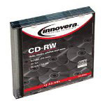 Innovera CD RW Rewritable Discs, Branded Surface, 700MB/80MIN, 12x, Silver, 5/Pack