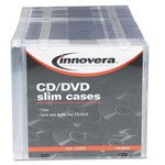 Innovera Thin Line Polystyrene CD/DVD Storage Cases, Clear/Black, 100/Pack