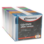 Innovera Thin Line Polystyrene CD/DVD Storage Cases, Assorted Colors