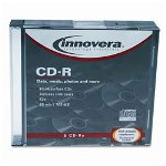 Innovera CD-R Discs, 52X, Blank Surface, 700Mb/80Min, Slim Jewel Cases, Silver