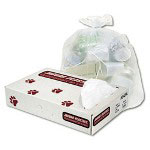 "Jaguar Plastics High Density White Flat-Bottom Trash Bags, 12 Micron, 38"" X 60"", Case of 200"