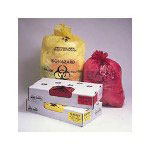 "Jaguar Plastics Infectious Linen ""Biohazard"" Can Liners 1.3mil, 30 x 43, Yellow, 200/Carton"