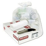 Jaguar Plastics High Density Clear Flat-Bottom Trash Bags, 56 Gallon, 14 Micron, 8 Rolls of 25