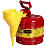 Justrite Red Metal Safety Can, Type 1, Two Gallon, with Yellow Plastic Funnel, for Gasoline
