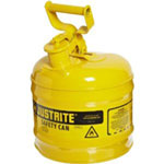 Justrite Yellow Metal Safety Can, Type 1, Two Gallon Capacity, for Diesel Fuel and Other Flammable Liquids