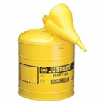 Justrite Yellow Metal Safety Can, Type 1, Five Gallon, with Yellow Plastic Funnel, for Diesel Fuel