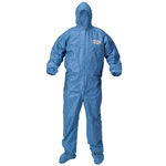 KleenGuard* A60 Blood and Chemical Splash Protection Coveralls, Large, Blue, 24/Carton