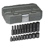 "Gearwrench 20 Piece 1/4"" Drive 6 Point SAE Standard and Deep Impact Socket Set"