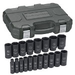 "Gearwrench 19 Piece 1/2"" Drive 6 Point SAE Deep Impact Socket Set"