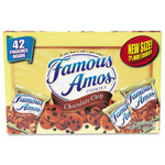 Kellogg`s Famous Amos Cookies, Chocolate Chip, 2 oz Snack Pack, 42 Packs/Carton