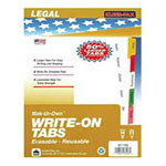 "Kleer-Fax Write-On Tabs, Erasable, Reusable, 3HP, 5-Tabs, 11"" x 8-1/2"", Asst."