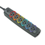 Kensington® 62144 Premium Strip Surge Protector, 6 Color Code Outlets, 1260 Joules