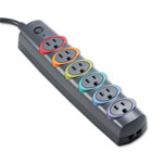 Kensington® 62146 Basic Strip Surge Protector, 6 Color Code Outlets, 670 Joules