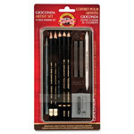 Koh-I-Noor Gioconda Artist Set, 10 Piece, Black/Gray