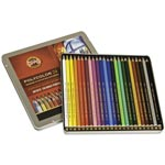 Koh-I-Noor Polycolor Drawing Pencils, 3.8 mm, Open Tin, 24 Assorted Colors/Set