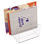 "Kantek Clear Acrylic Desk File Sorter, Three 2"" Compartments, 8w x 6 1/2d x 7 1/2h"