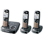Panasonic KX-TG9333T DECT 6.0 Expandable Digital Cordless Phone with Answering System and 3 Handsets, Black