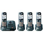 Panasonic KX-TG9344T DECT 6.0 Expandable Digital Cordless Phone with Dual Keypads and 4 Handsets, Black