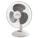 Lakewood Engineering 12-Inch Three-Speed Oscillating Desk Fan, Metal/Plastic, White