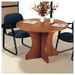 "Alera Valencia Series Round Conference Table, Medium Cherry, 48"" Diameter x 29 1/2h"