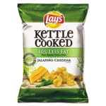 Lay's Kettle Cooked Jalapeno & Cheddar Chips, 1.375 oz Bag, 64/Carton